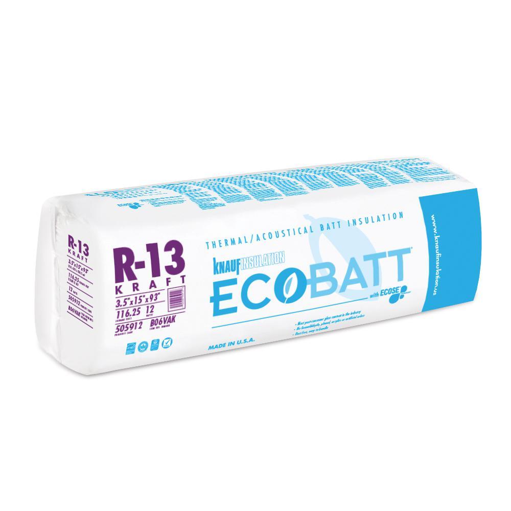5 in. W x 93 in. L R-13 Kraft Faced Fiberglass Insulation Batt 1