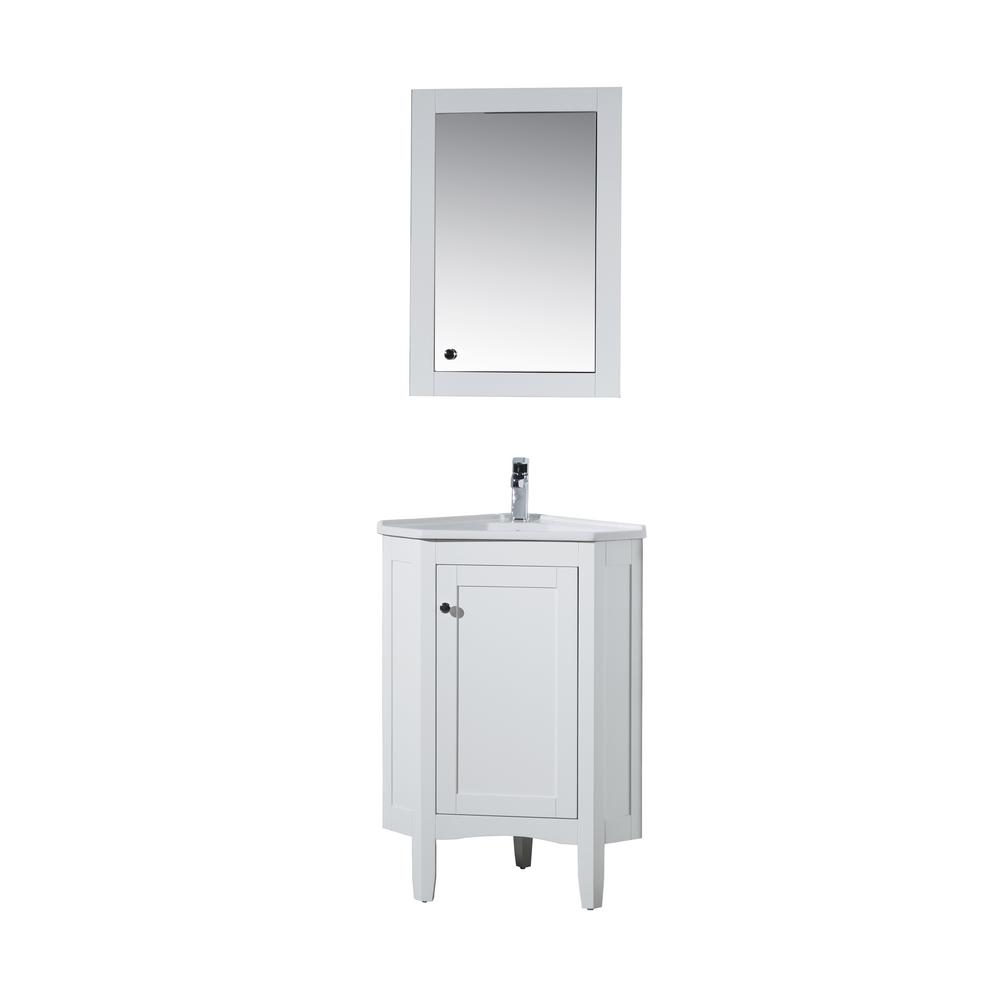 stufurhome Monte 25 in. W x 18 in. D Corner Vanity in White with Porcelain Vanity Top in White with White Basin and Mirror Cabinet