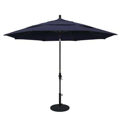 11 ft. Aluminum Collar Tilt Double Vented Patio Umbrella in Navy Blue Olefin