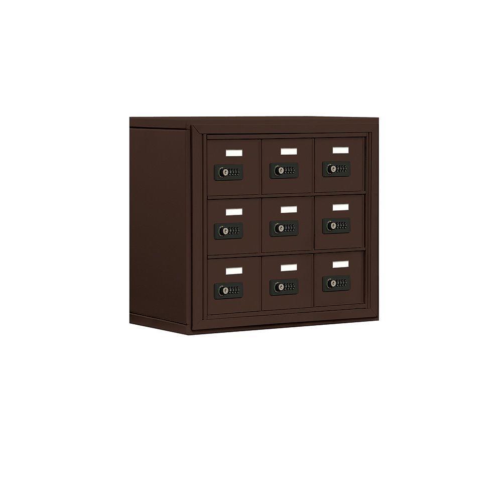 19000 Series 24 in. W x 20 in. H x 9.25 in. D 9 A Doors S-Mount Resettable Locks Cell Phone Locker in Bronze