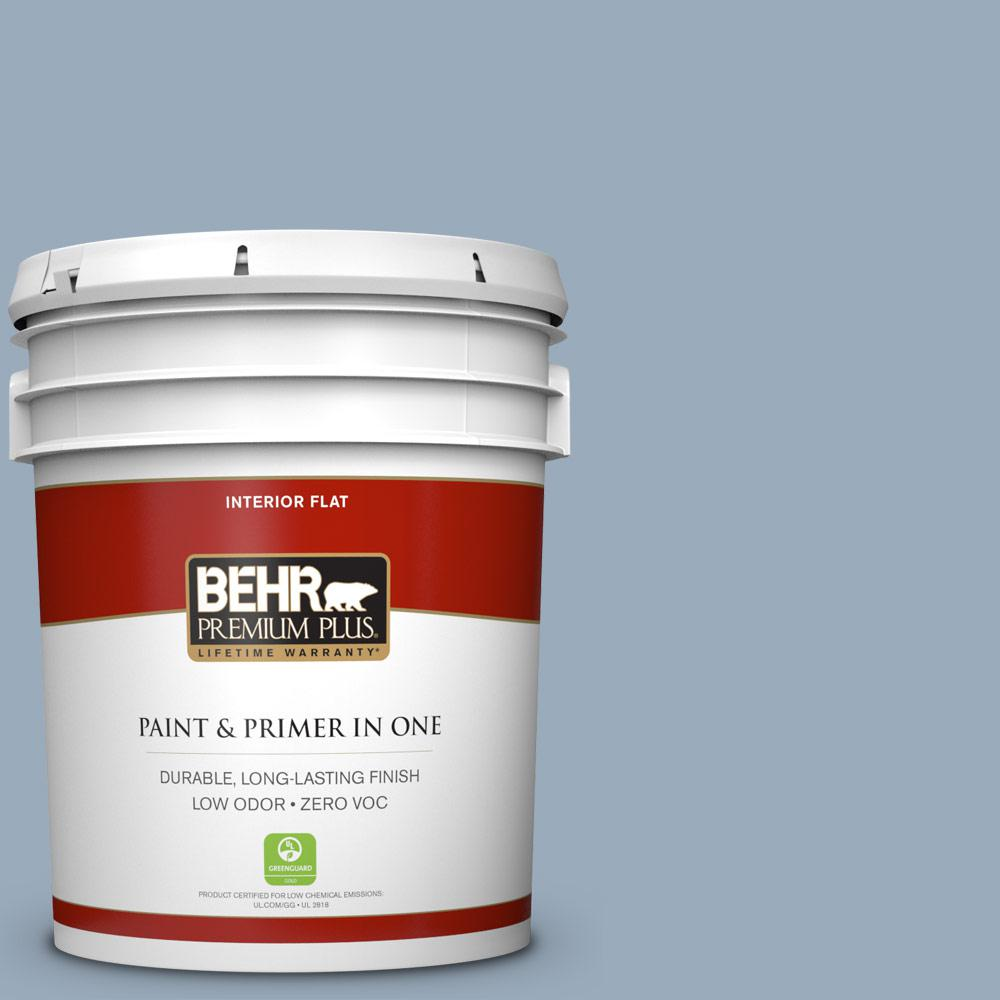 BEHR Premium Plus 5-gal. #570F-4 Blue Willow Zero VOC Flat Interior Paint