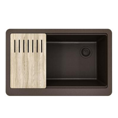 Bellucci MetallTek Farmhouse ApronFront Granite Composite 33 in. Single Bowl Kitchen Sink with Cutting Board in Brown