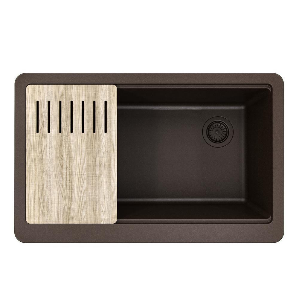 Bellucci MetallTek Farmhouse ApronFront Granite Composite 33 in. Single Bowl Kitchen Sink with Cutting Board in Brown