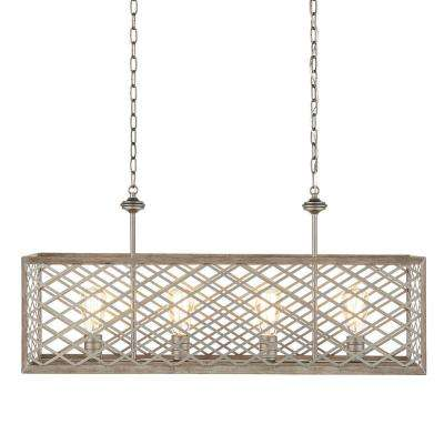 4-Light Gilded Pewter Linear Chandelier with Interweaving Open Cage Frame