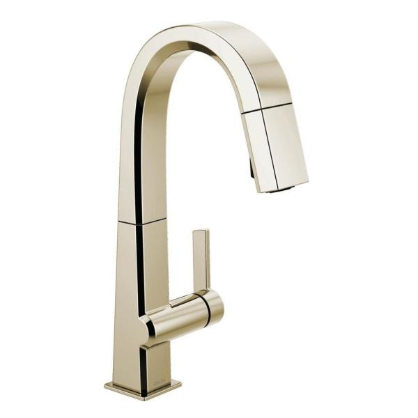 Pivotal Single-Handle Bar Faucet with MagnaTite Docking in Polished Nickel