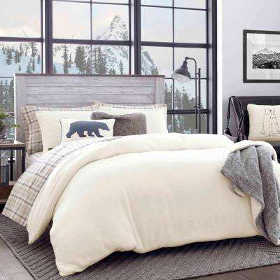 3-Piece Beige Cloud Peak Sherpa King Duvet Cover Set