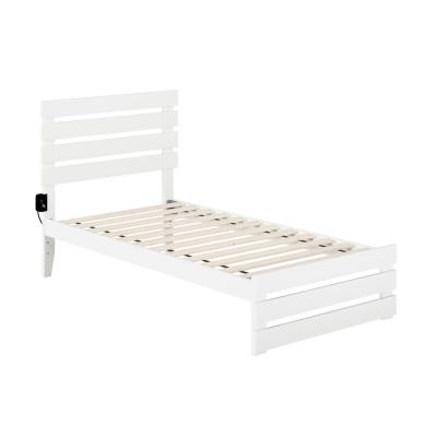 Oxford White Twin Bed with Footboard and USB Turbo Charger