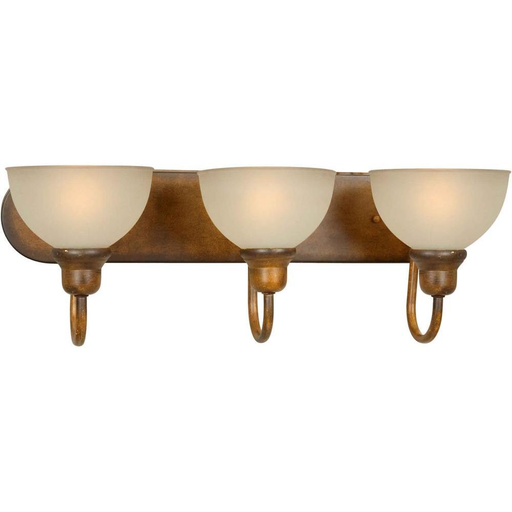 Burton 3-Light Rustic Sienna Incandescent Wall Bath Vanity Light