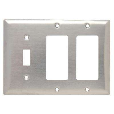 302 Series 3-Gang Toggle/Decorator/Decorator Combination Wall Plate in Stainless Steel