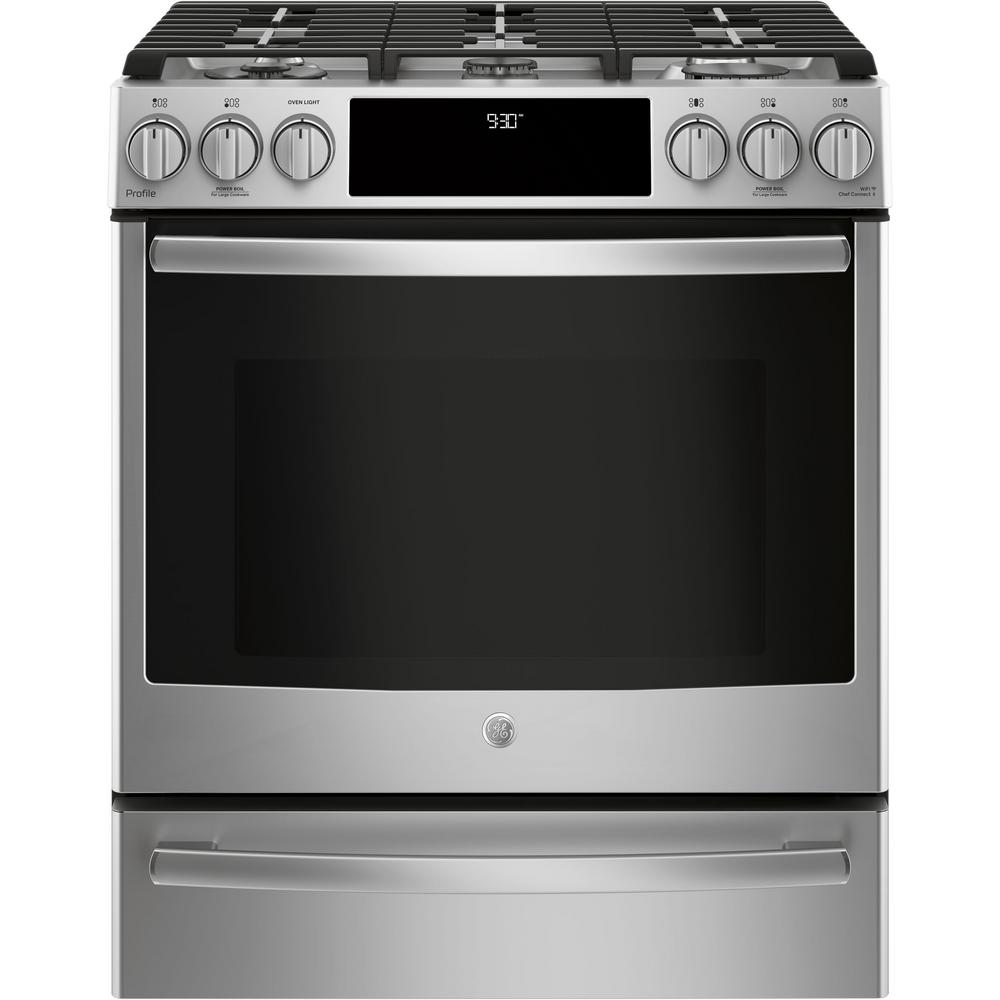 Ge Profile 5 6 Cu Ft Slide In Smart Gas Range With Self Cleaning Convection Stainless Steel