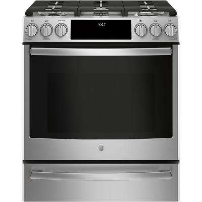 Profile 5.6 cu. ft. Smart Slide-In Gas Range with Self-Cleaning True Convection Oven and Wi-Fi in Stainless Steel