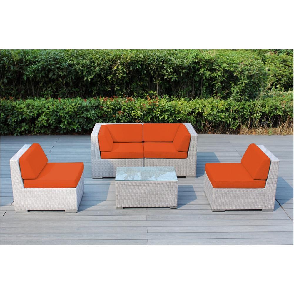 Ohana Gray 5-Piece Wicker Patio Seating Set with Supercrylic Orange Cushions