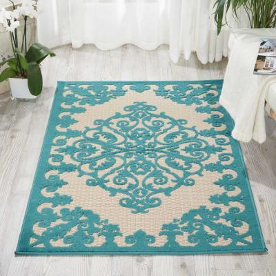 Aloha Aqua 3 ft. x 4 ft. Indoor/Outdoor Area Rug