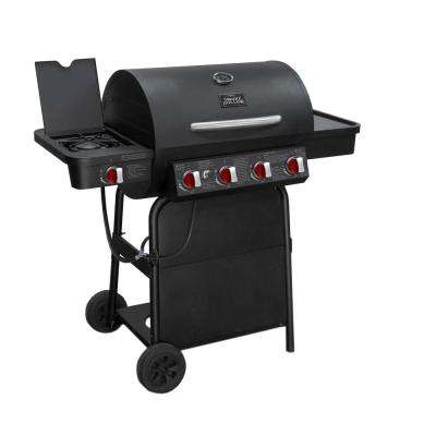 4-Burner Propane Gas Barrel Grill in Black with Side Burner