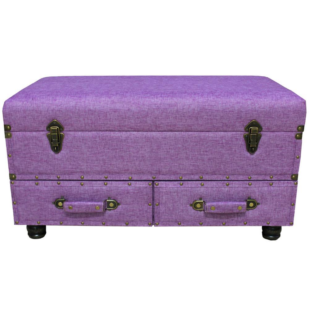 light purple linen layton storage trunk - Purple Furniture