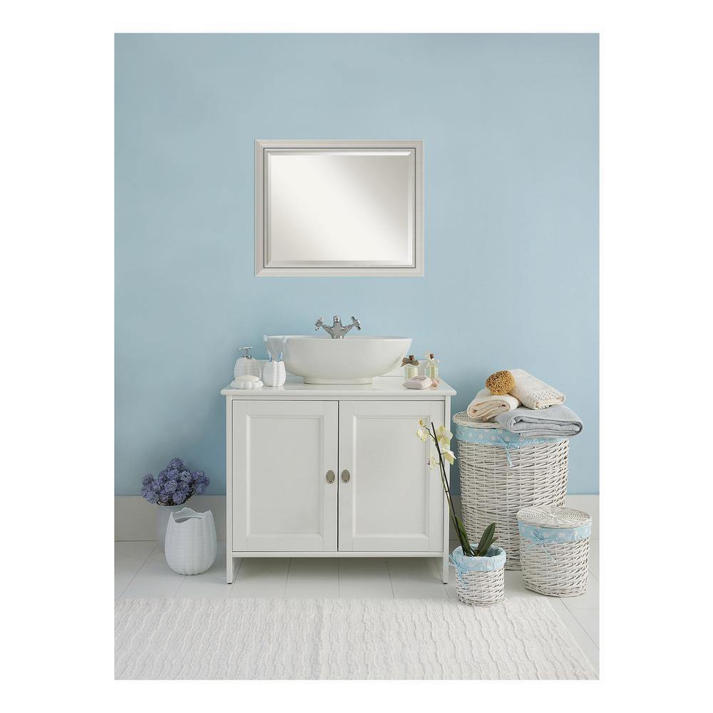 Romano Narrow Burnished Silver Wood 32 in. W x 26 in. H Single Contemporary Bathroom Vanity Mirror