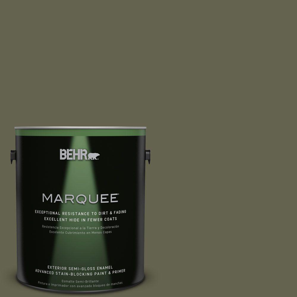 1-gal. #N350-7 Russian Olive Semi-Gloss Enamel Exterior Paint
