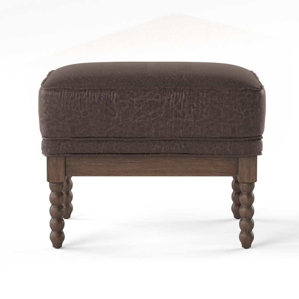 Furniture of America Eves Dark Brown Cushioned Ottoman IDF-AC6165BR-OT