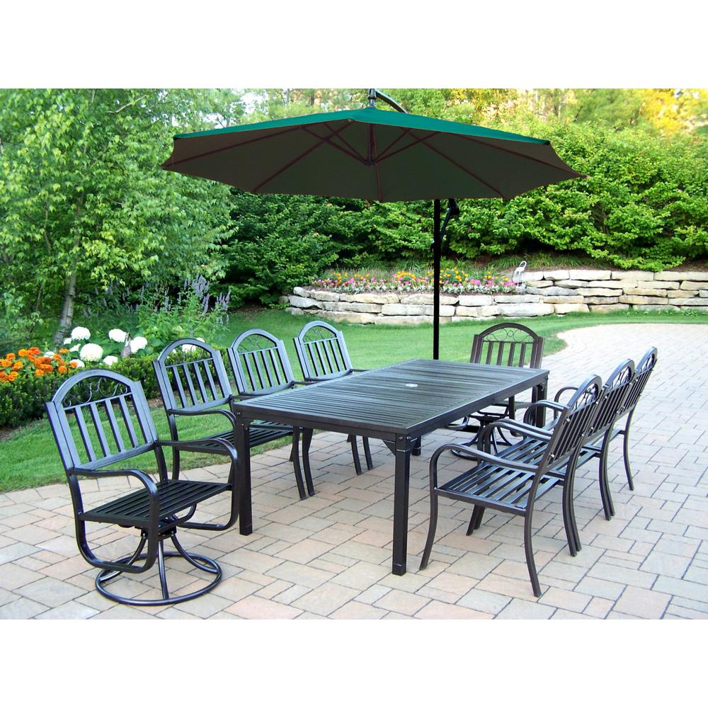 10-Piece Metal Outdoor Dining Set with Green Umbrella