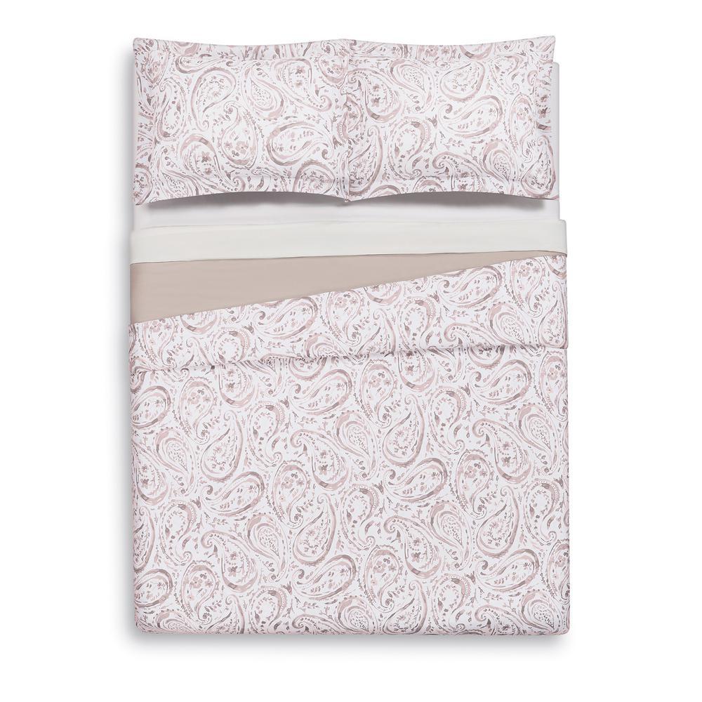 Watercolor Paisley Blush Pink Full/Queen Duvet Set
