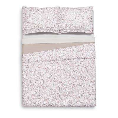 Watercolor Paisley Blush Pink Twin Extra Long Duvet Set