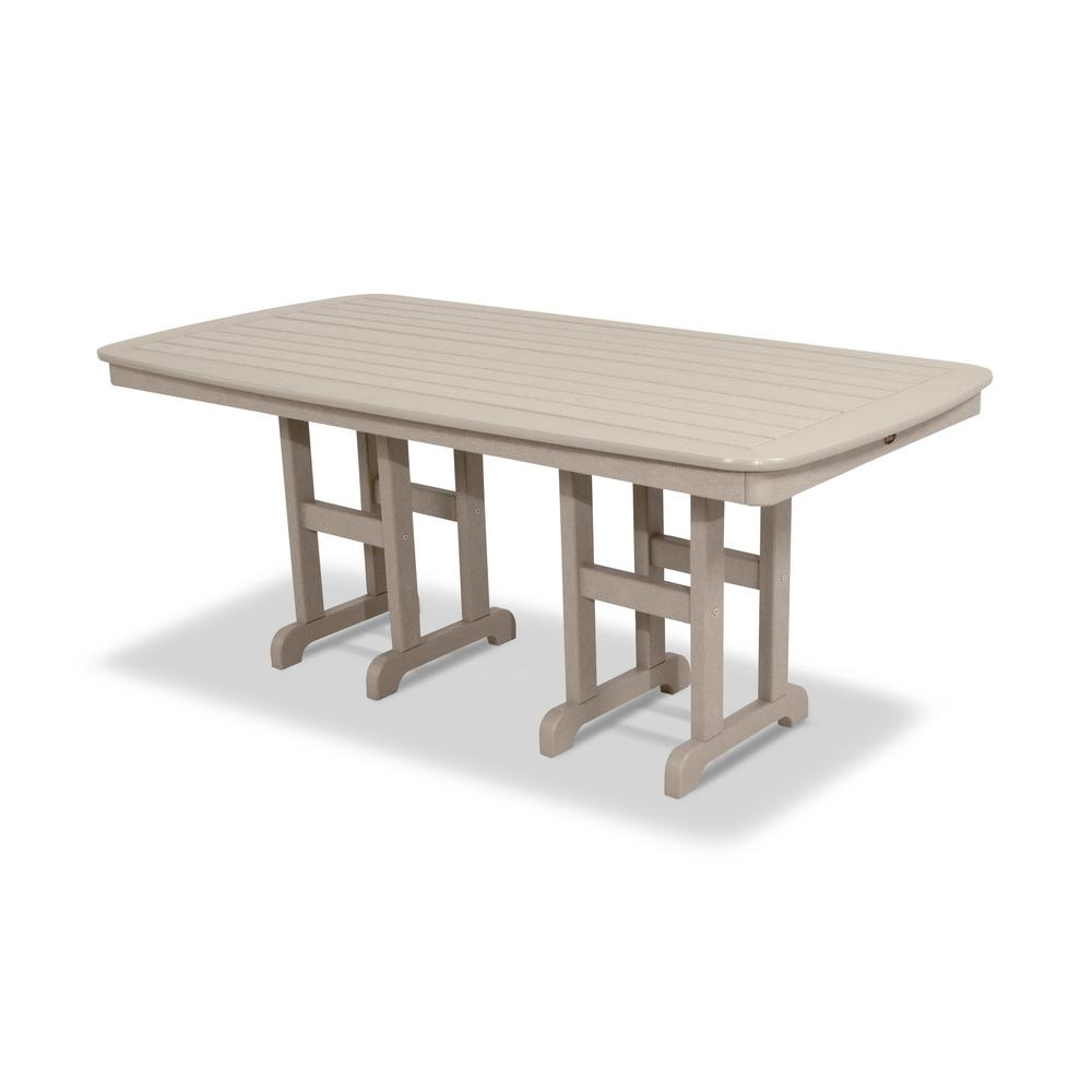 Yacht club 37 in x 72 in sand castle patio dining table