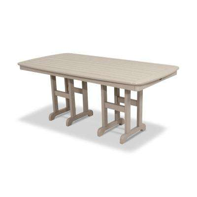 Yacht Club 37 in. x 72 in. Sand Castle Patio Dining Table