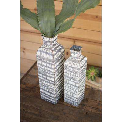Distressed White Metal Decorative Vases (Set of 2)