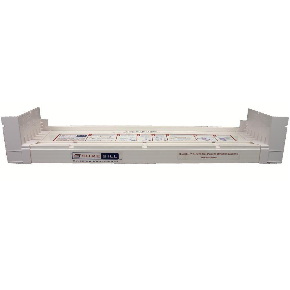 SureSill 4-1/8 in. x 39 in. White PVC Sloped Sill Pan for Door and Window Installation and Flashing (Complete Pack)