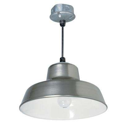 Farm and Home 1-Light 14 in. Silver Hanging Reflector light