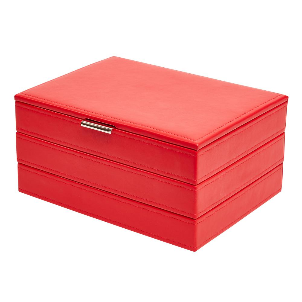 Allie Red Faux Leather Jewelry Box