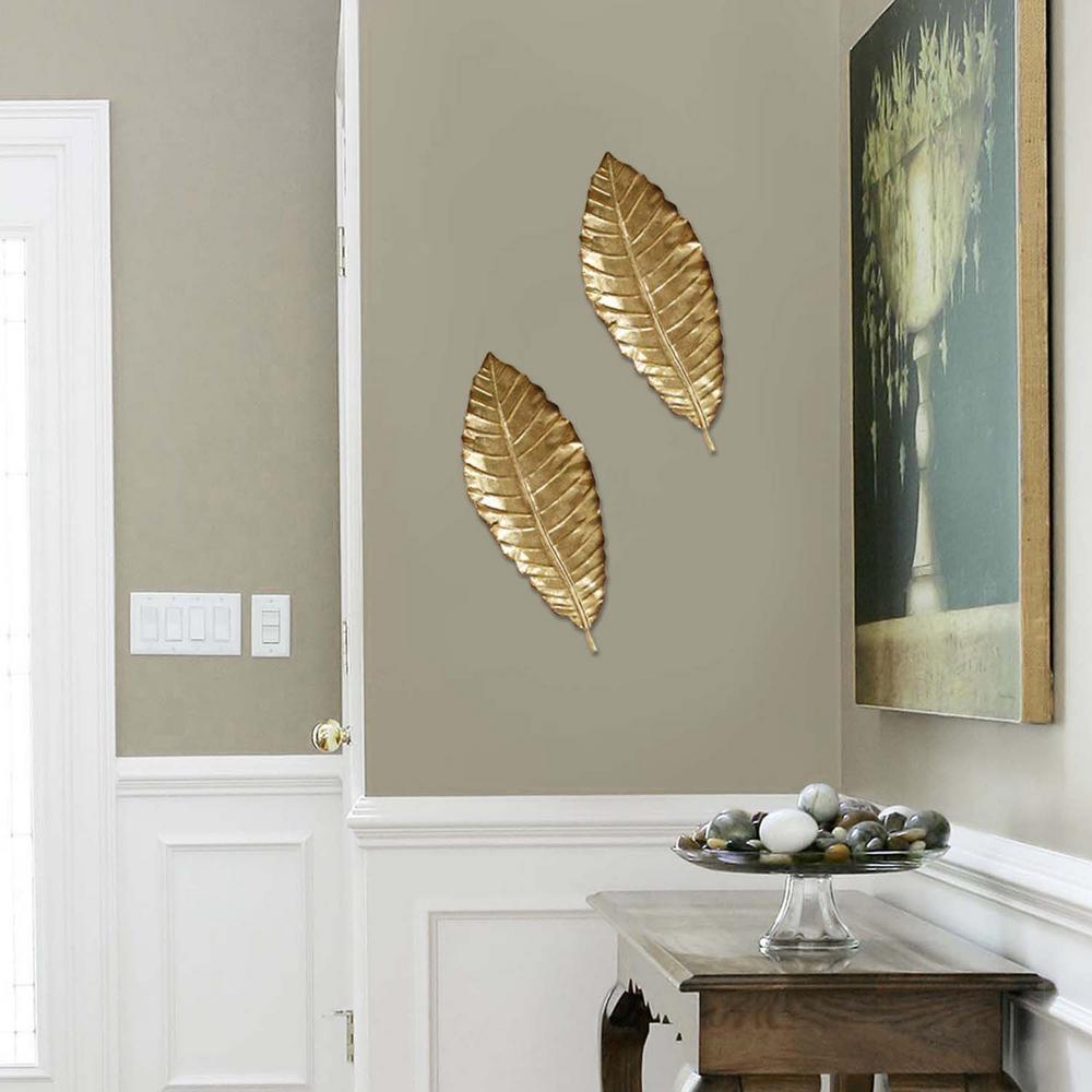 Stratton home decor elegant metal leaf wall decor shd0112 the home depot
