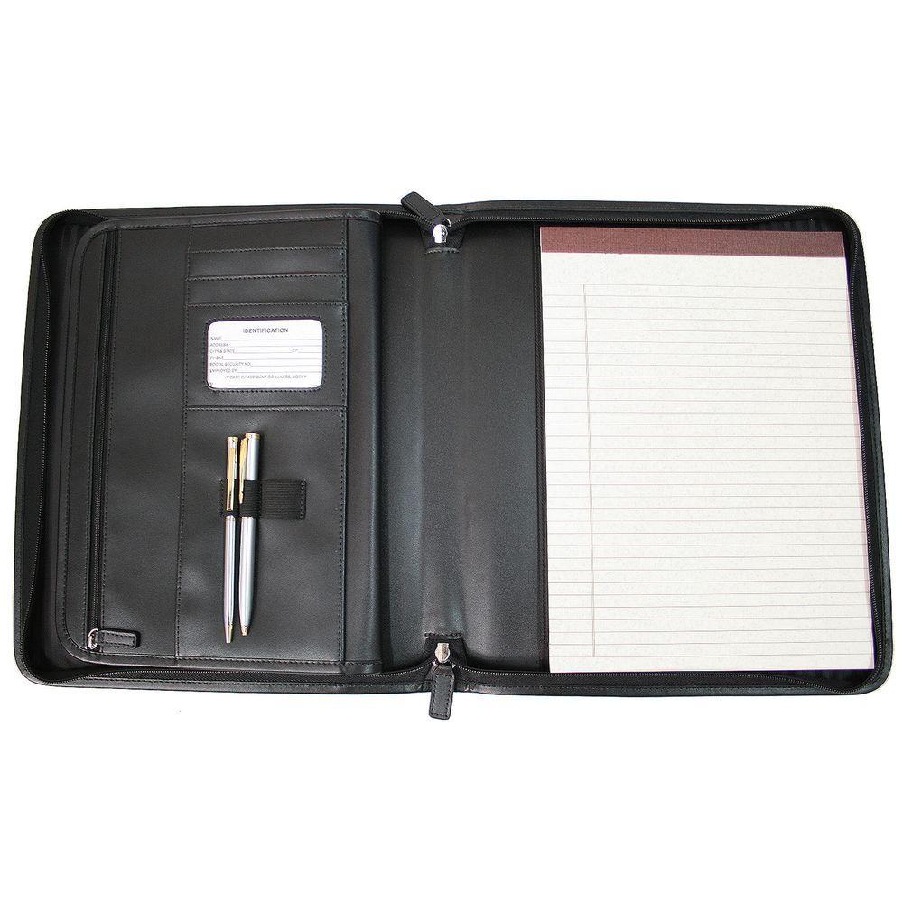 Ziparound Tablet Writing Portfolio Organizer in Genuine Leather