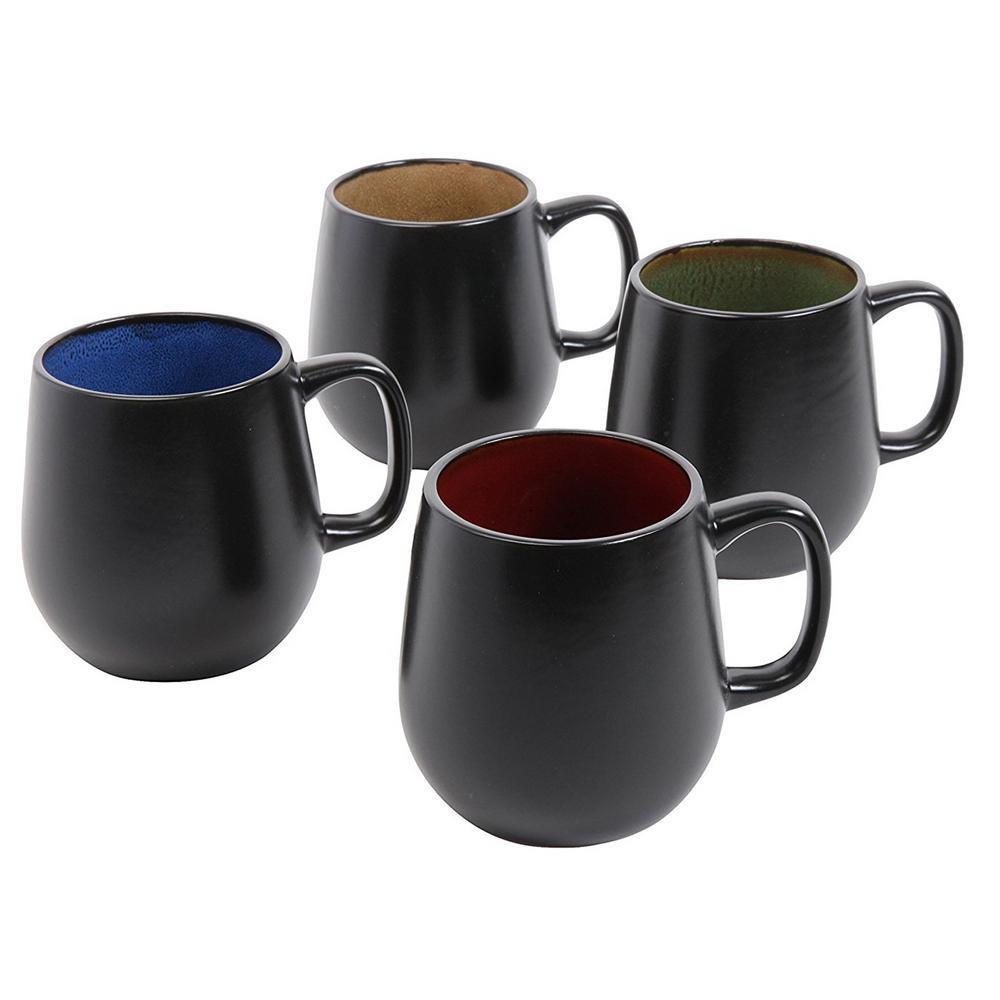 Soho Cafe 20 oz. Assorted Color Stoneware Mugs (Set of 4)