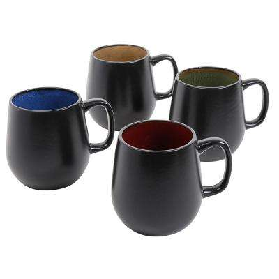 Soho Cafe 20 oz. Assorted Color Stoneware Mugs (Set of 4)