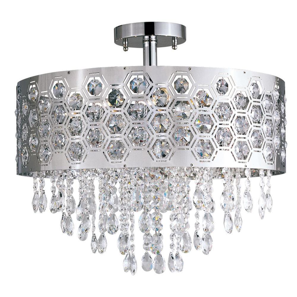Bel Air Lighting Stewart 6-Light Chrome Halogen Ceiling Semi-Flush Mount Light