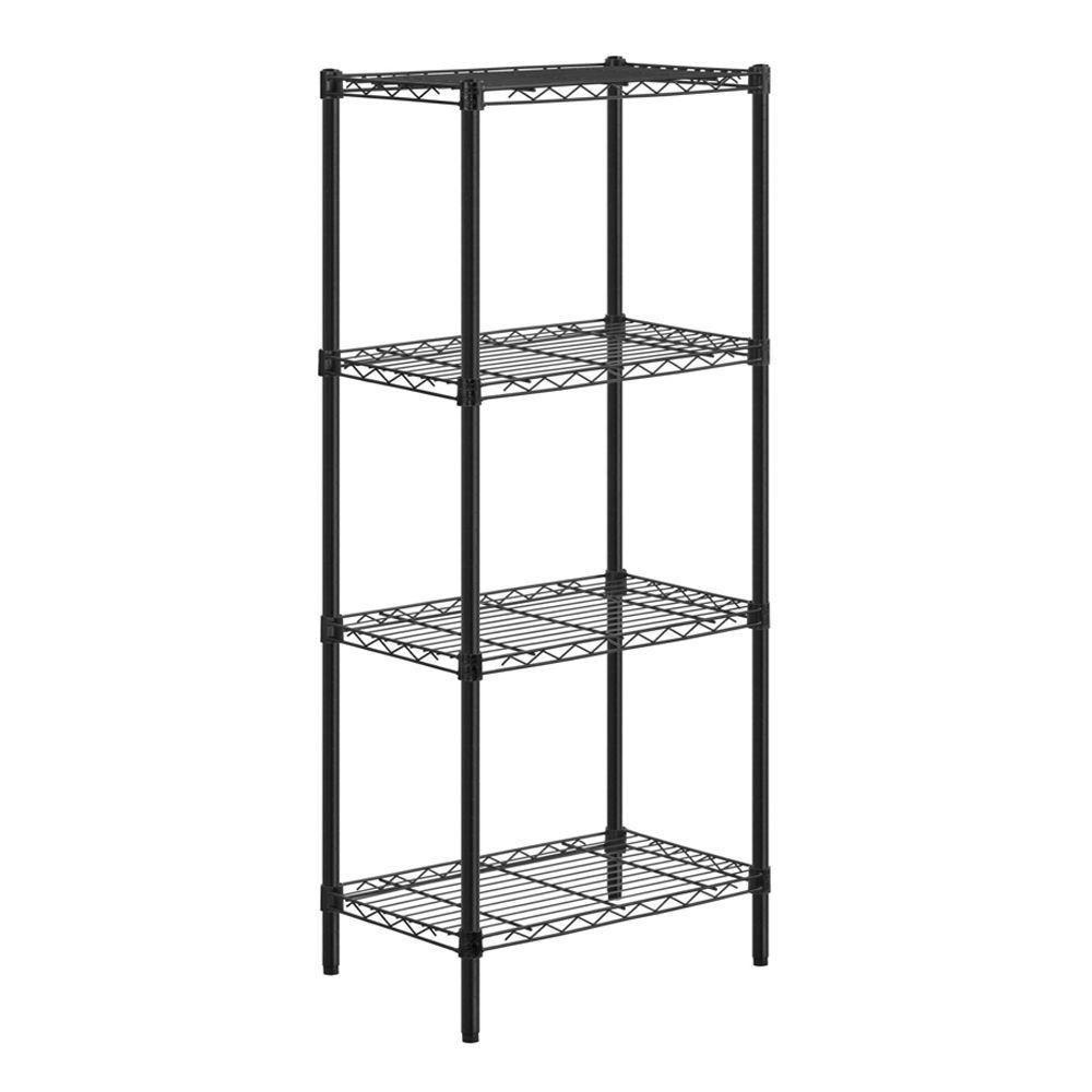 54 in. H x 24 in. W x 14 in. D 4-Shelf Steel Shelving Unit in Black