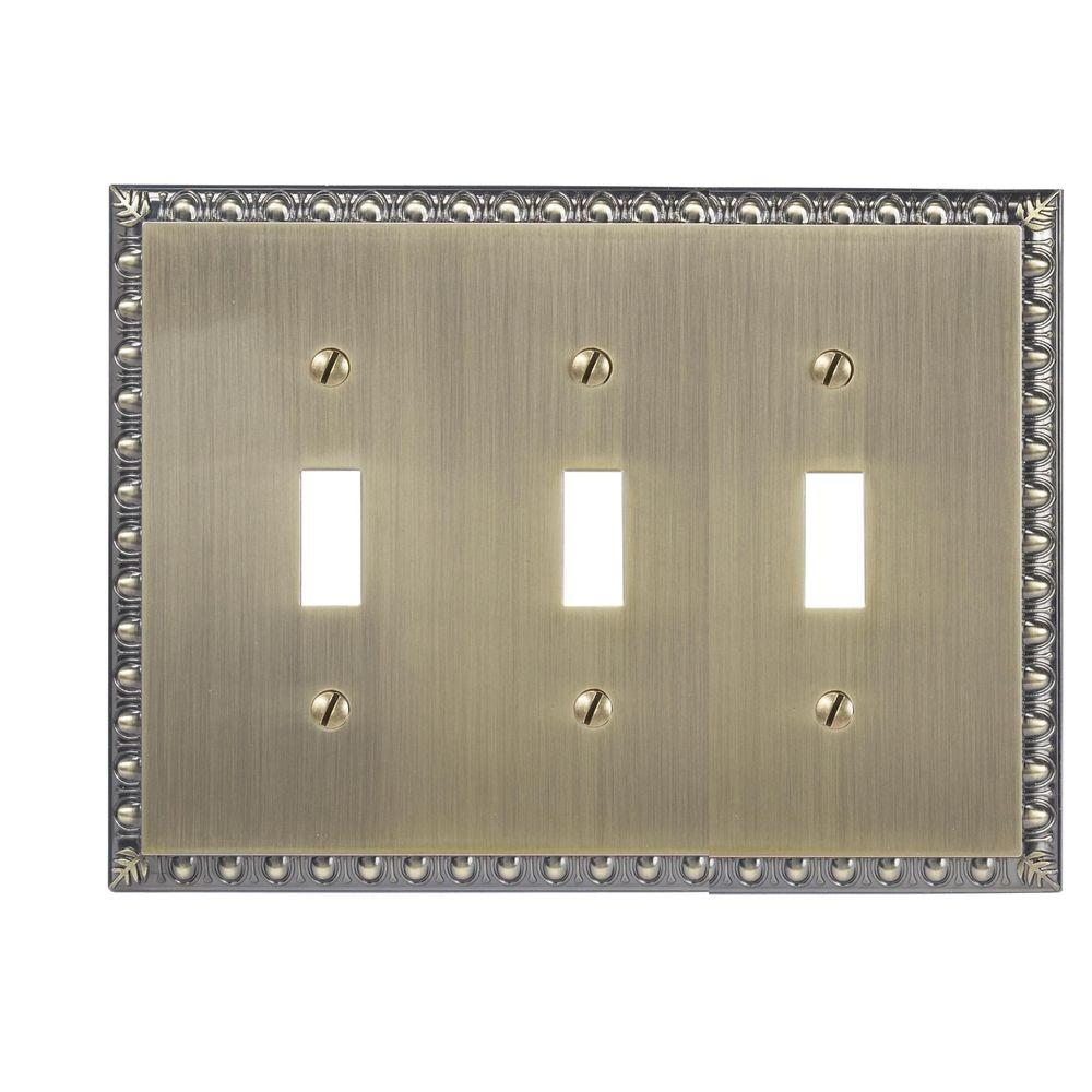 Amerelle Renaissance 3 Toggle Wall Plate - Brushed Brass