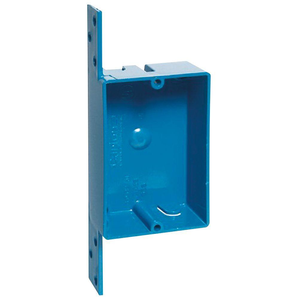 1-Gang 8 cu. in. Blue PVC New Work Switch and Outlet
