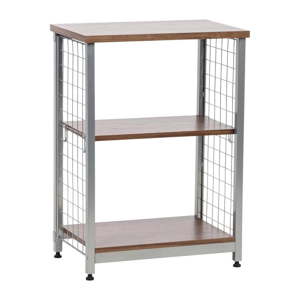 Brown 2-Tier Open Mesh Wood-Top Shelf