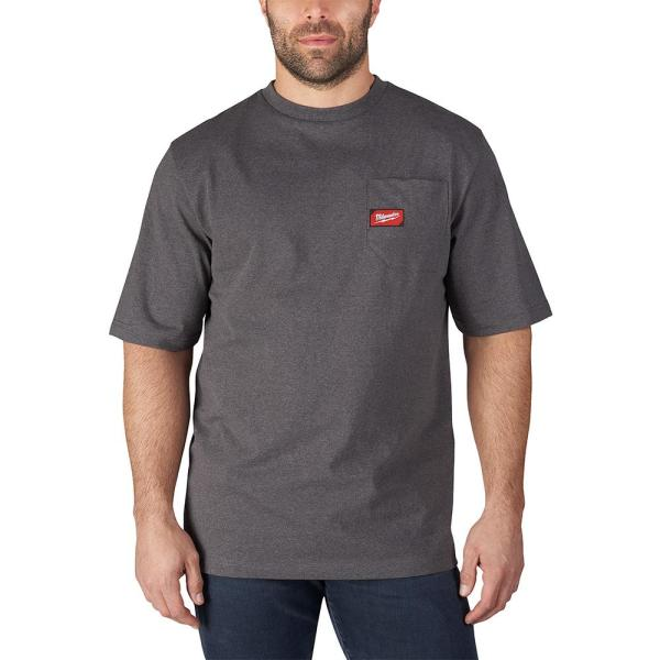 Men's 2X-Large Gray Heavy Duty Cotton/Polyester Short-Sleeve Pocket T-Shirt