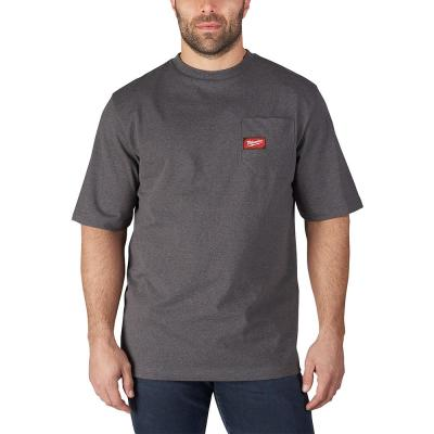 Men's Large Gray Heavy Duty Cotton/Polyester Short-Sleeve Pocket T-Shirt