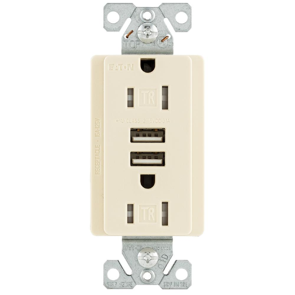 Eaton 15 Amp 125 Volt Combination Outlet And 2 Usb 31 Charger Cooper Wiring Diagram Wall Pack This Review Is From15 With Duplex Receptacle Light Almond