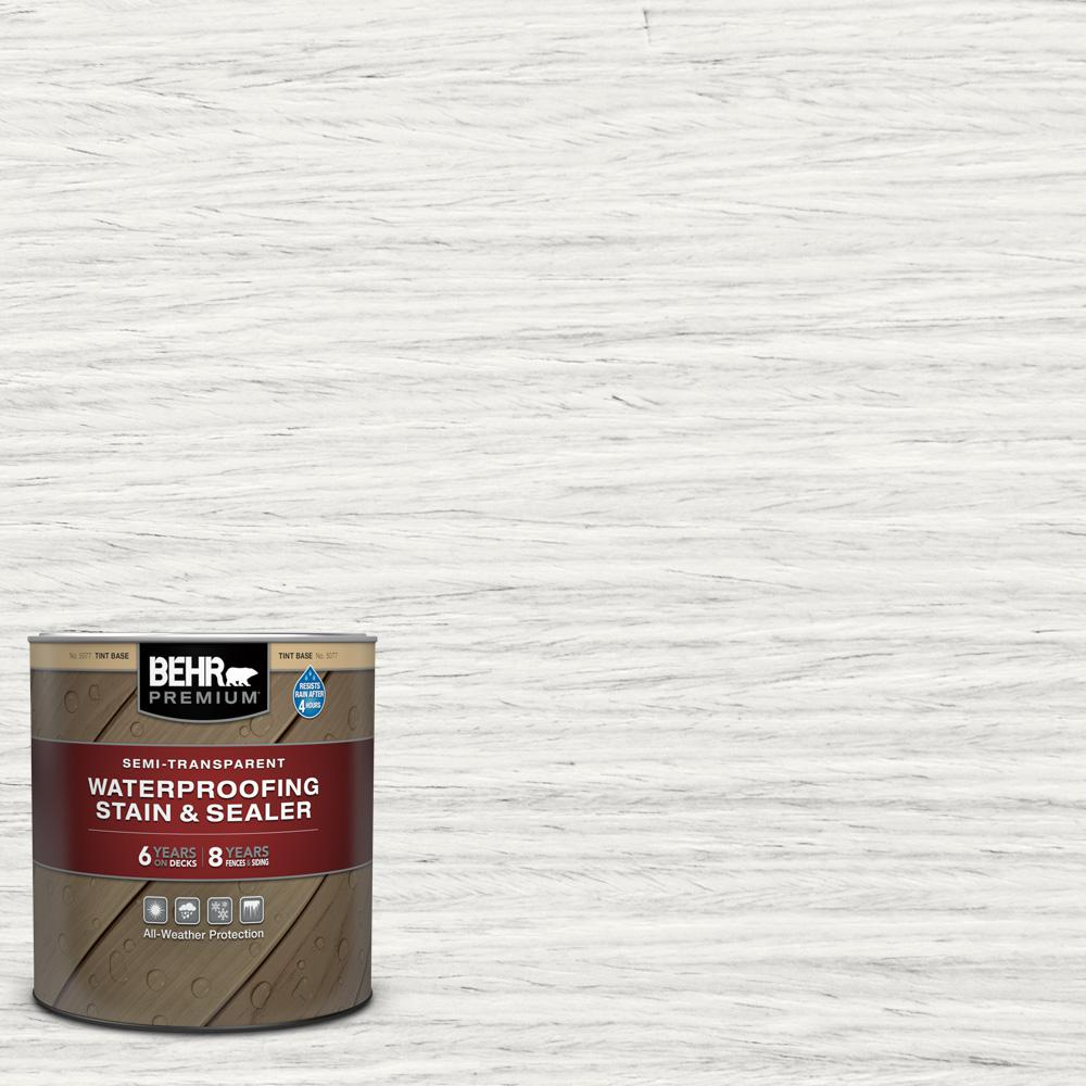 BEHR PREMIUM 1 qt. #ST-210 Ultra Pure White Semi-Transparent Waterproofing Exterior Wood Stain and Sealer