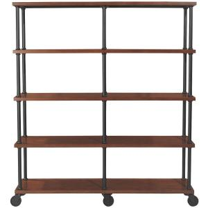 72 in. Black/Brown Metal 4-shelf Etagere Bookcase with Open Back