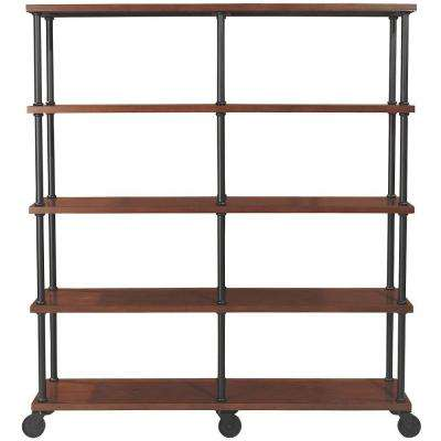 Industrial Mansard Black Open Bookcase