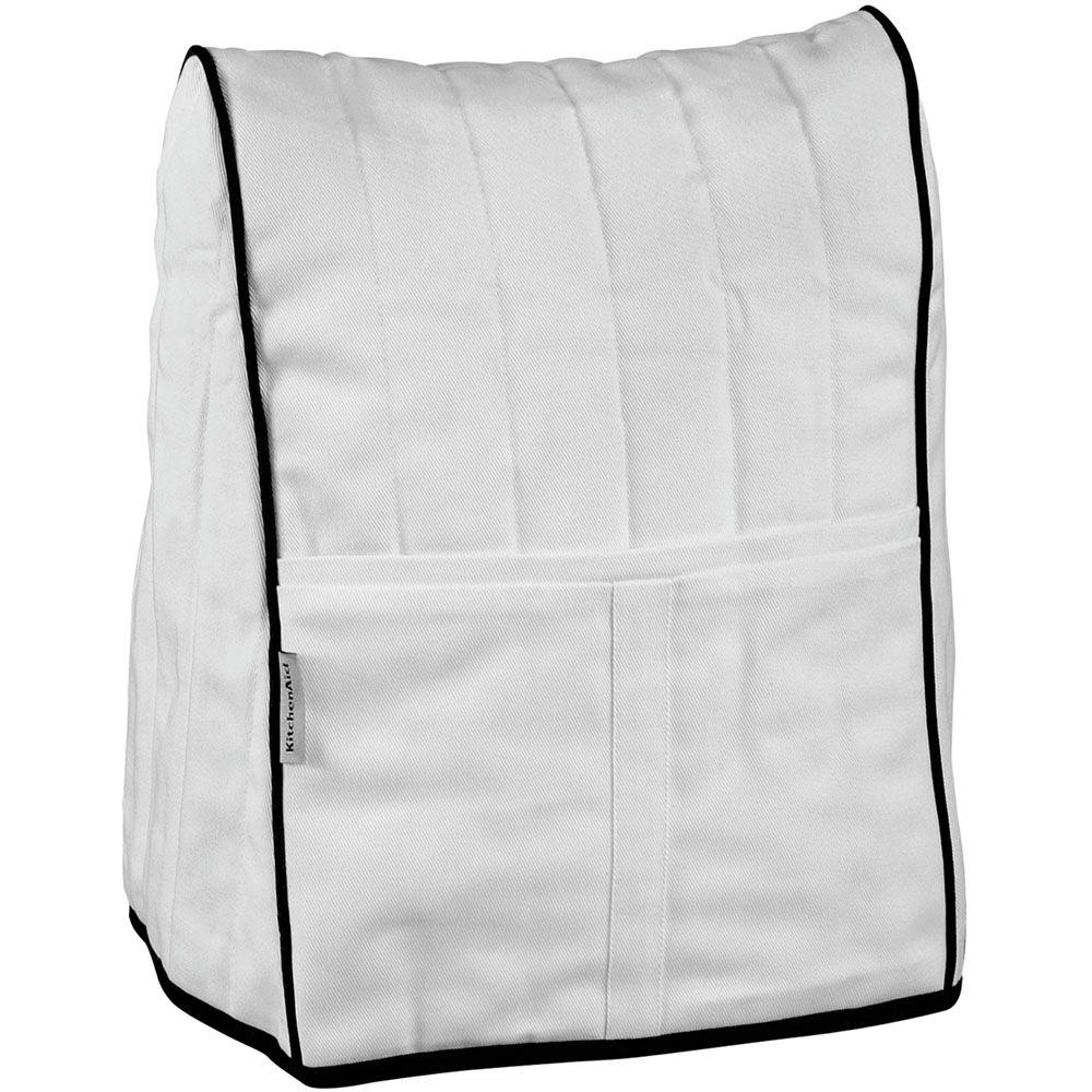 KitchenAid Cloth Cover for Stand Mixer in White with Black Piping