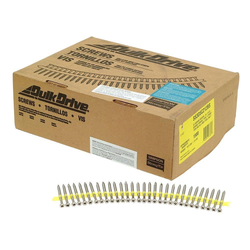 Simpson Strong-Tie #10 2-1/2 in. 305 Stainless Steel SS3DSC Collated Screw (1,500 per Box)