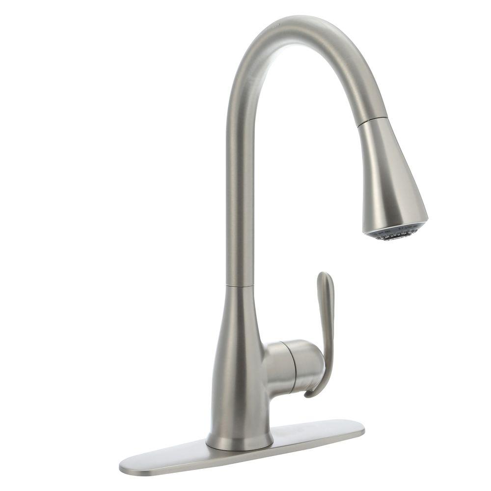 Moen Haysfield Single Handle Pull Down Sprayer Kitchen Faucet With Reflex In Spot Resist Stainless