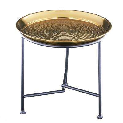 Gold Finish Hammered Tray with Knock Down Stand